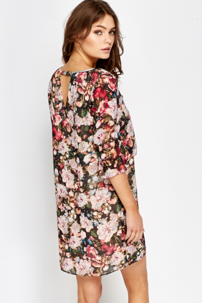 Metallic Trim Floral Dress