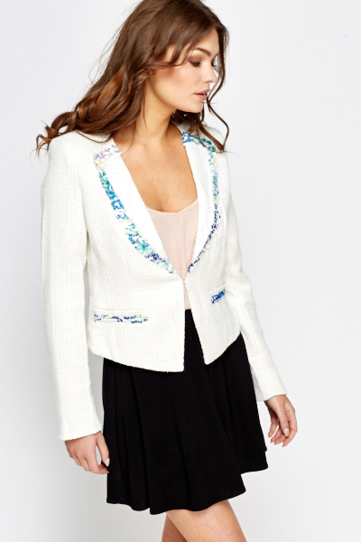 Sequin Trim Textured Blazer