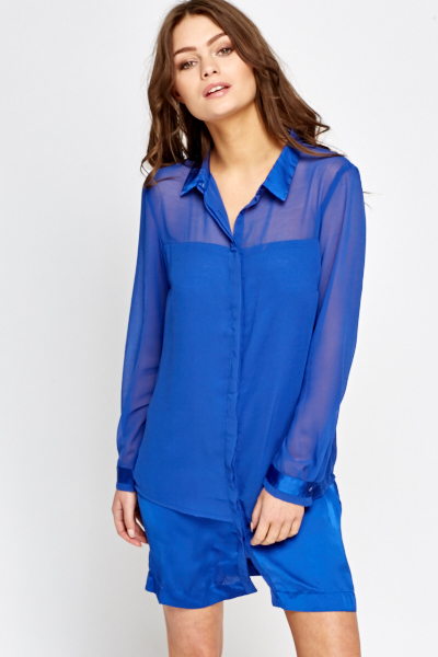 Sheer Overlay Shirt Dress