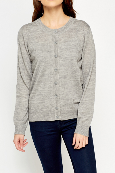 Ribbed Round Neck Cardigan