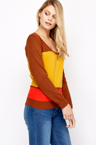 Round Neck Colour Block Jumper