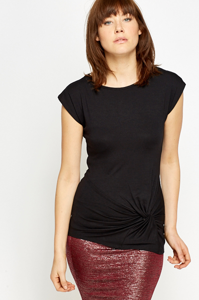 Twist Hem Black Top