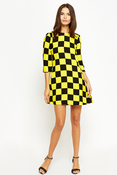 Yellow Racer Check A-Line Dress