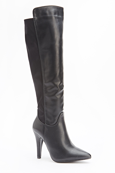 Black Contrast Back Heeled Boots