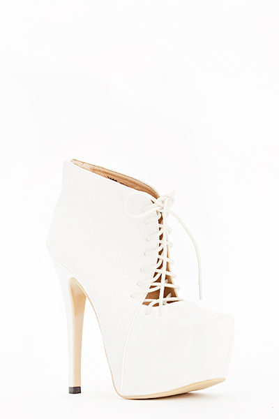 Textured High Lace Up Heels