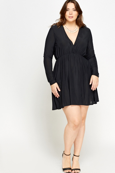 Black Ruffled Plunge Neck Dress