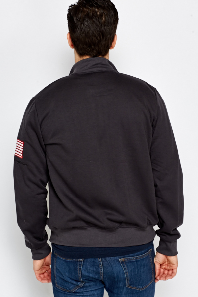 Charcoal Embroidered Logo Jacket