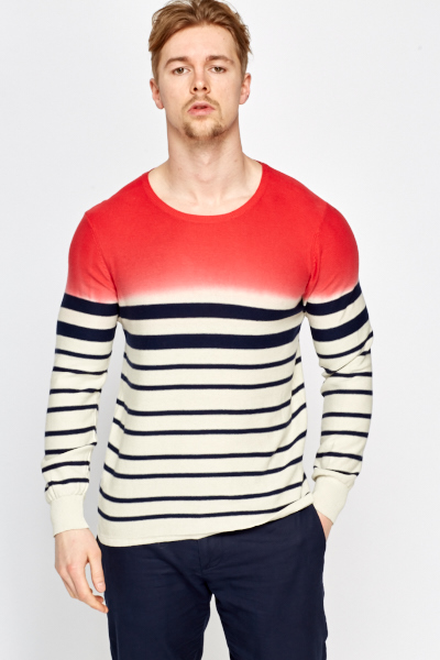 Contrast Striped Cotton Jumper
