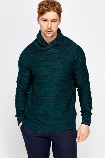 Cowl Neck Speckled Long Jumper