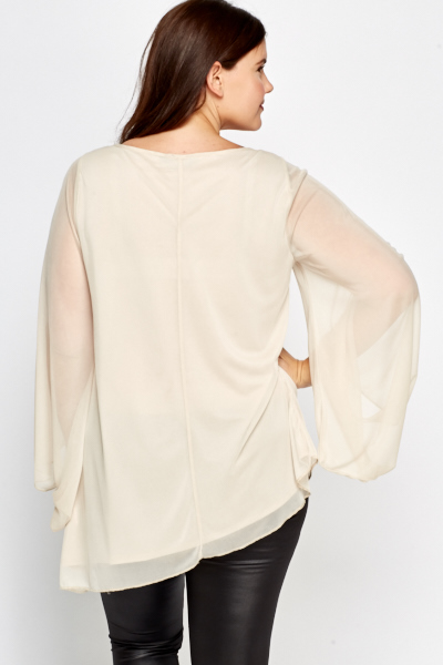 Cream Flared Sleeves Blouse