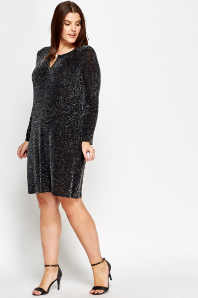 Diamante Neck Metallic Dress