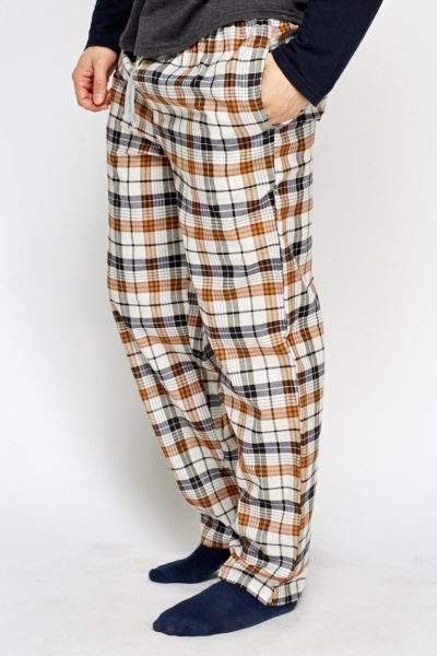 Mens Check Grid Lounge Trousers
