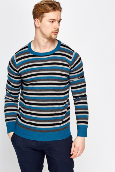 Multi Striped Cotton Blend Jumper