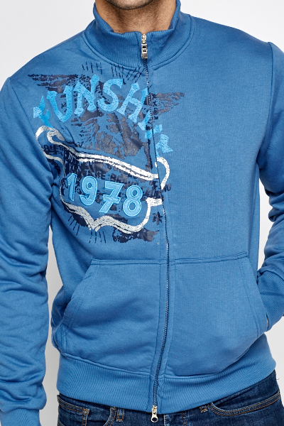 Printed Middle Blue Zip Front Jacket