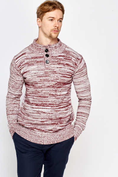 Speckled Button Neck Jumper