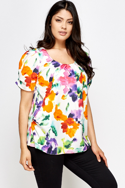 White Multi Floral Pleated Top