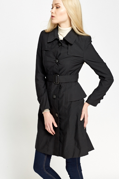 Black Overlay Trench Coat