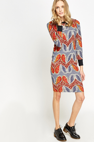 Geo Butterfly Fleece Bodycon Dress