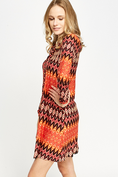 Orange Multi Print Shift Dress