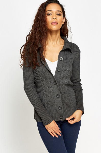 Plait Panel Knit Cardigan