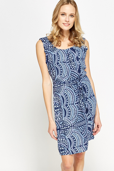 Sleeveless Printed Frill Dress