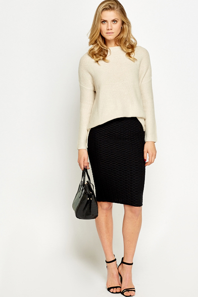 Black High Waist Pencil Skirt - Just £5