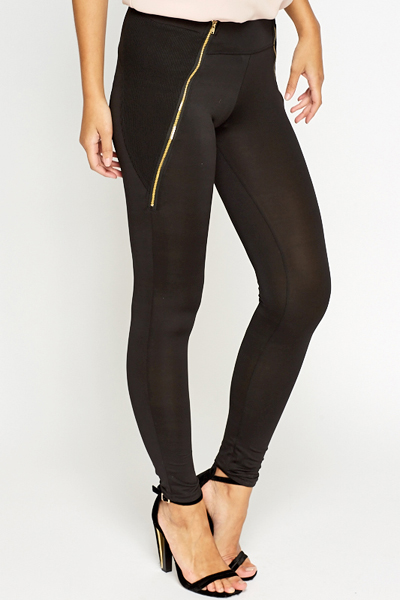 Black Ribbed Side Leggings