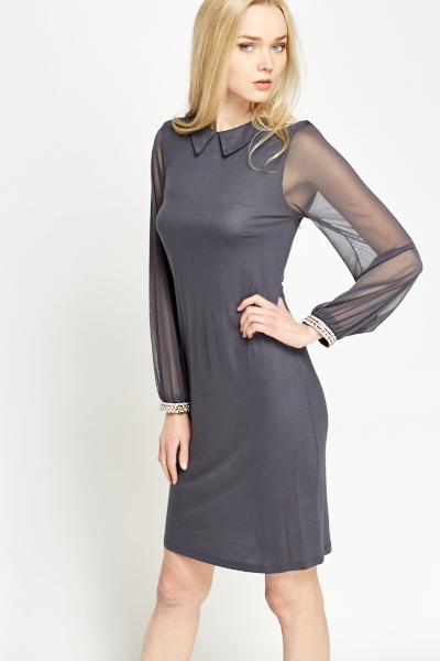 Grey Contrast Embellished Cuff Dress