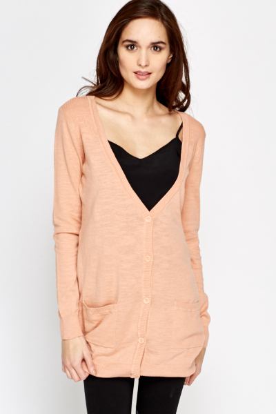 Long Low Neck Button Up Cardigan