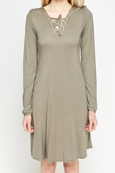 Olive Lace Front Shift Dress