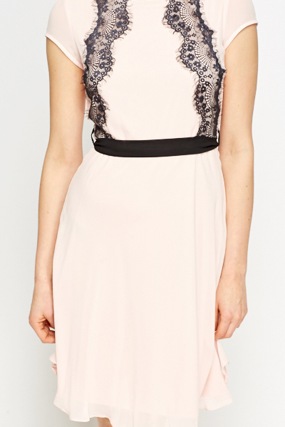Contrast Lace Pink Swing Dress
