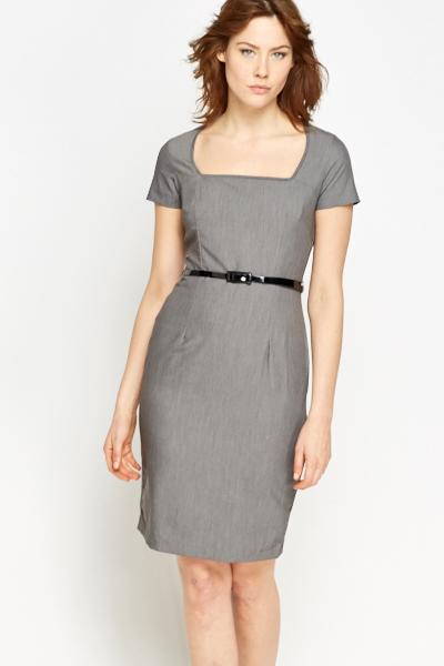 db0c075fb2 Grey Contrast Belted Formal Dress