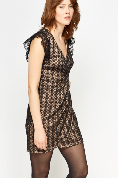 Lace Overlay Wrap Hem Dress