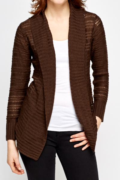 Loose Knit Ribbed Open Front Cardigan