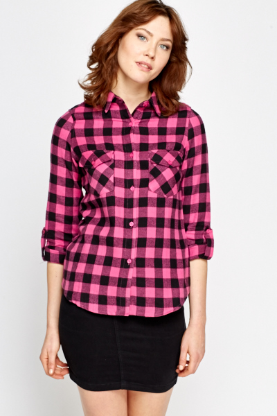 Pink Fleece Check Shirt