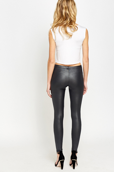 Charcoal Leather Look Leggings