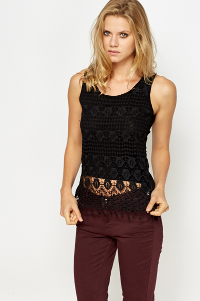 Cropped Crochet Overlay Front Top