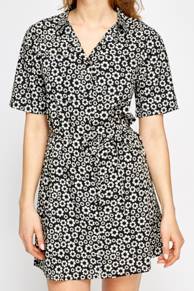 Daisy Print Shirt Dress