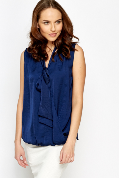Dark Blue Wrap Shell Top