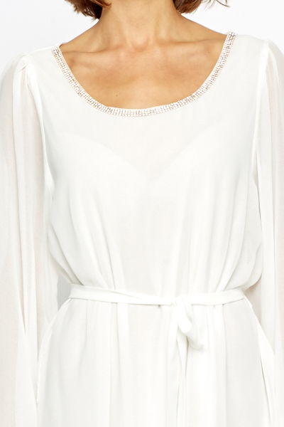 Diamante Encrusted White Shift Dress