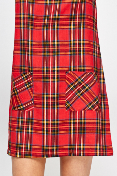 Red Tartan Pinafore Dress
