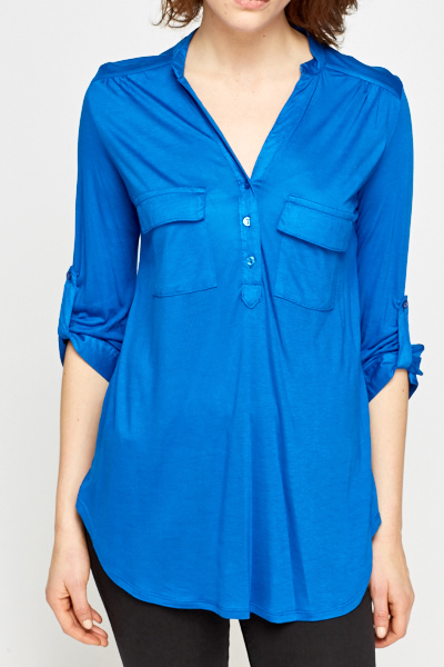 Roll Up Royal Blue Blouse