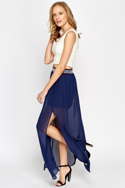 Sheer Overlay Maxi Skirt