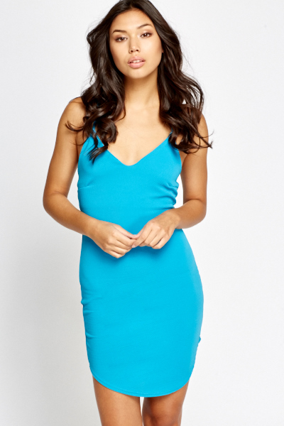 Sky Blue Textured Bodycon Dress
