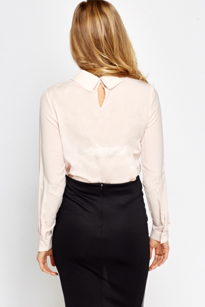 Studded Collar Light Peach Blouse