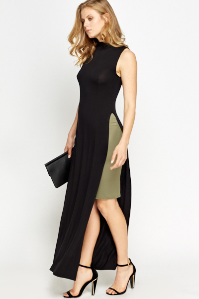 Black High Neck Side Slit Long Top