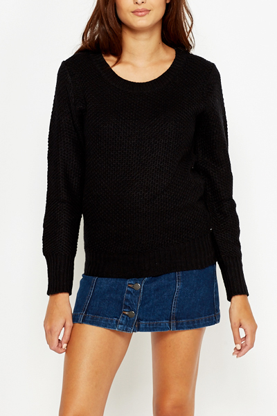 Black Round Neck Jumper