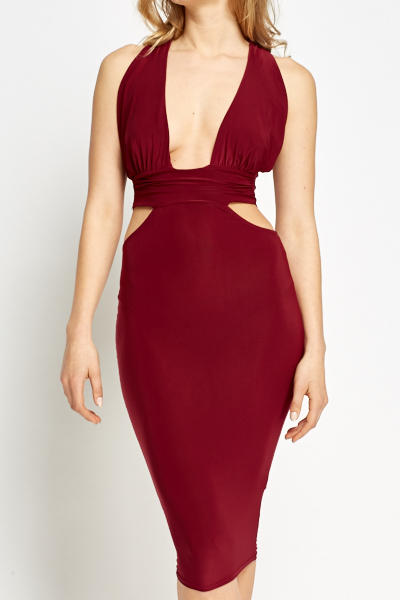 Burgundy Plunge Cut Bodycon Dress