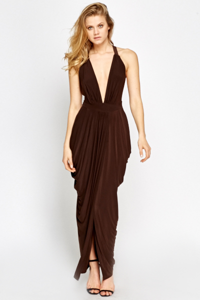 279a33ba7bf Deep Plunge Ruched Maxi Dress - Just £5
