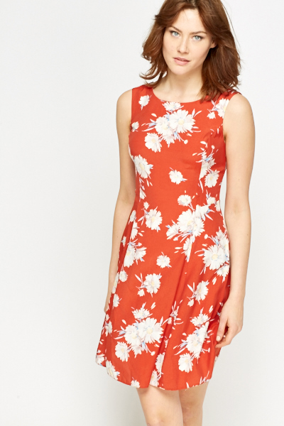 6ddd2e7cfc4 Floral Red Swing Summer Dress - Just £5
